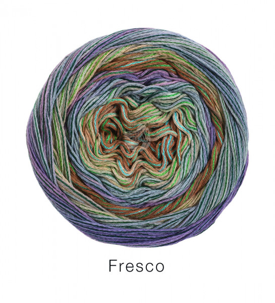 Lana Grossa Fresco 009 Natur/Vanille/Zartgrün/Flieder/Taupe/Rotbraun/Pink 100g