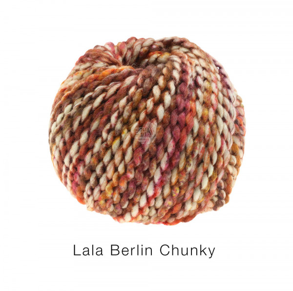 Lana Grossa lala BERLIN CHUNKY 0103 Orange/Zyklam/Rosenholz/Rohweiß 50g