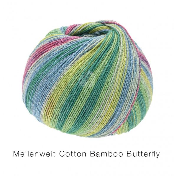 Lana Grossa Meilenweit 100 Cotton Bamboo Butterfly 2452 Hellgrün/Grün/Jeans/Mint/Altrose Gelbgrün 10