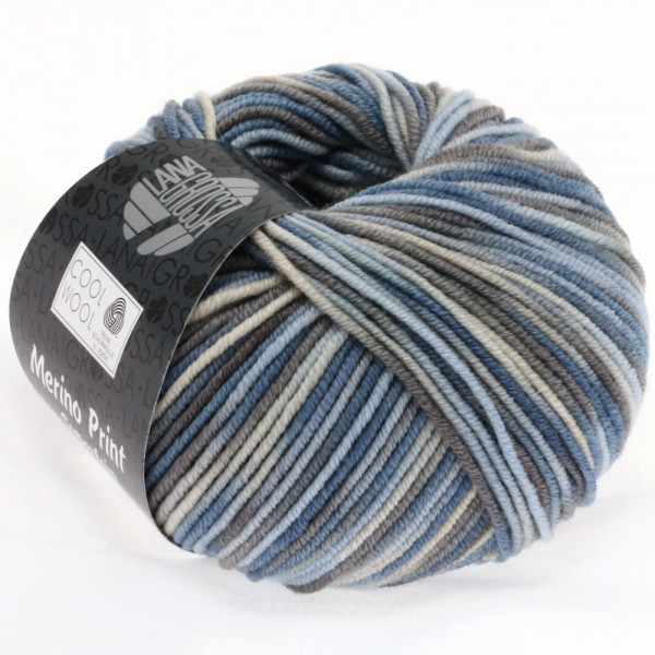 Lana Grossa Cool Wool 2000 Print 763 Hellblau/Grège/Graubraun/Blaugrau 50g