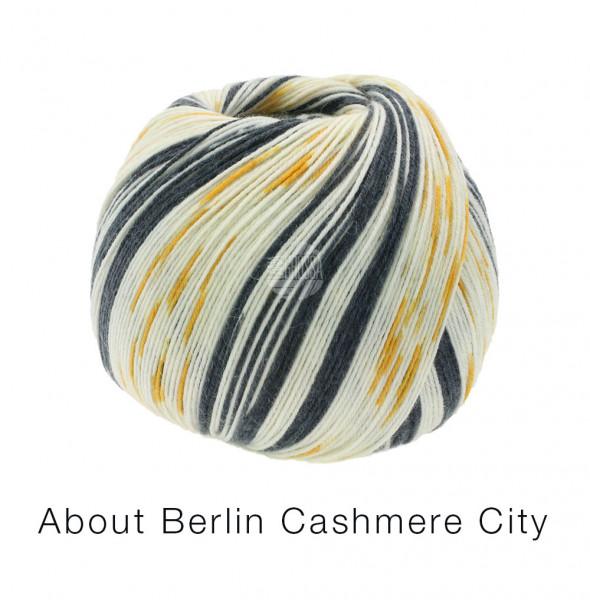Lana Grossa About Berlin Meilenweit 100 Cashmere City 861 Wollweiß/Gelb/Schwarz 100g