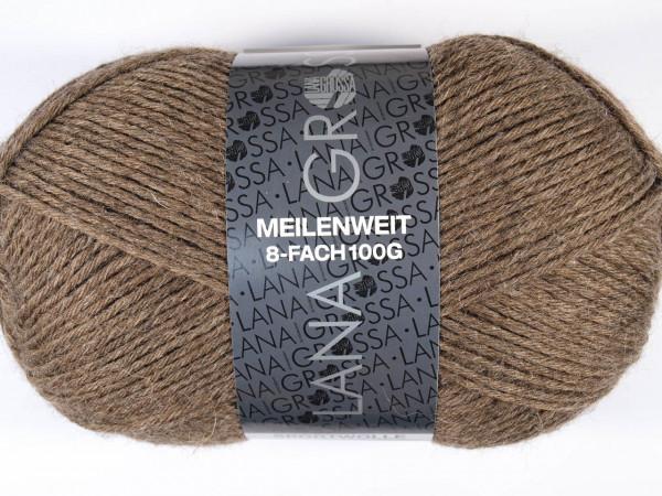 Lana Grossa Meilenweit 8-fach 100 9612 Braun 100g