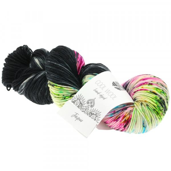 Lana Grossa Cool Wool hand-dyed 106 Schwarz/Grau/Pfirsich/Türkis/Orange 100g