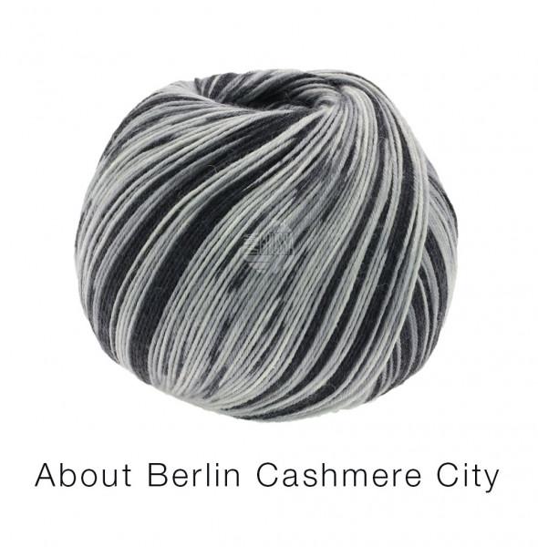 Lana Grossa About Berlin Meilenweit 100 Cashmere City 865 Schwarz/Hell-/Mittelgrau 100g