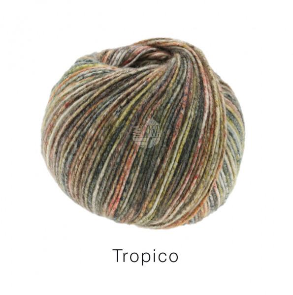 Lana Grossa Tropico 003 Dunkel-/Helloliv/Braun/Weiß/Graugrün/Taupe/Lachs 50g