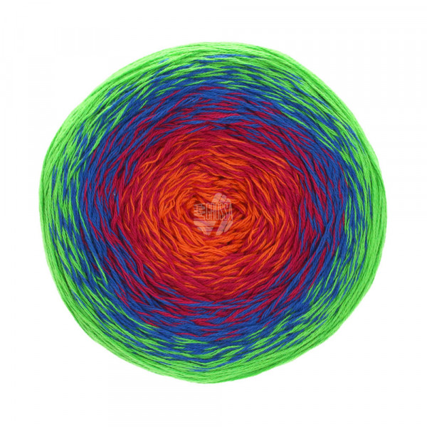 Lana Grossa Twisted Summer Shades 1011 Jade/Kobaldblau/Fuchsia/Orange 200g