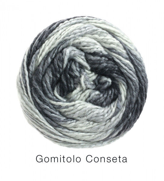 #Lana Grossa GOMITOLO CONSETA 0709 Rohweiß/Silber-/Mittel-/Dunkelgrau/Antharzit 100g