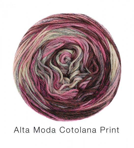 Lana Grossa Alta Moda Cotolana Print 104 Graubraun/Dunkelgrau/Grau/Rosa/Flieder/Altrosa 100 g