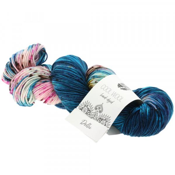 Lana Grossa Cool Wool hand-dyed 104 Türkis/Dunkelpertol/Rosa/Pink/Schwarzbraun 100g