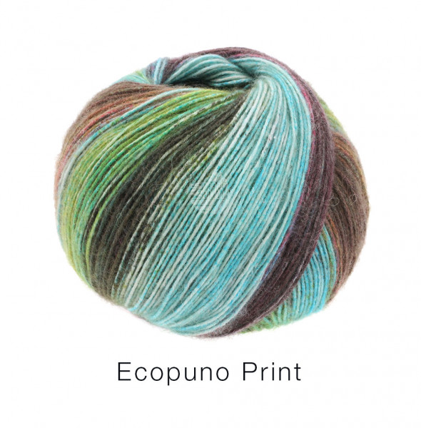 Lana Grossa Ecopuno Print 205 Türkis/Mint/Dunkelbraun/Gelbgrün/Taupe 50g