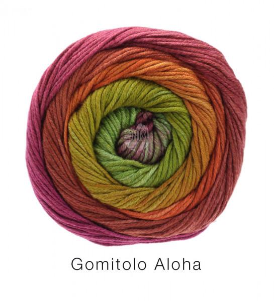 Lana Grossa Gomitolo Aloha 312 Graugrün/Fuchsia/Lachsorange/Tonrot/Olivgrün 100g