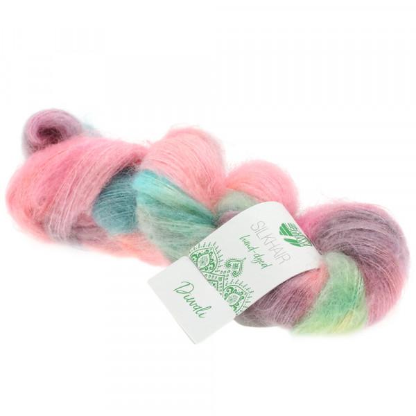 Lana Grossa Silkhair hand-dyed 604 Rosa/Pink/Zartgrün/Graubraun/Lagunenblau/Türkis 50g