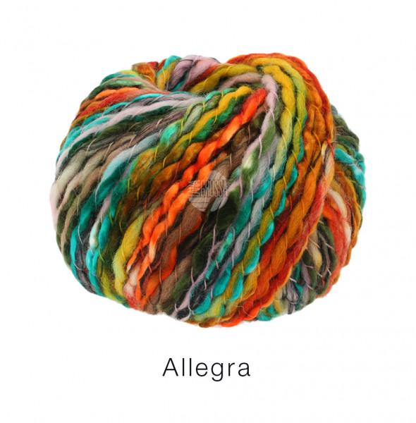Lana Grossa Allegra 004 Rot/Orange/Türkis/Graubraun 100g