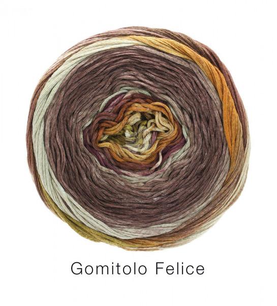 Lana Grossa Gomitolo Felice 716 Natur/Brombeer/Hellbeige/Oliv/Bernstein 150g