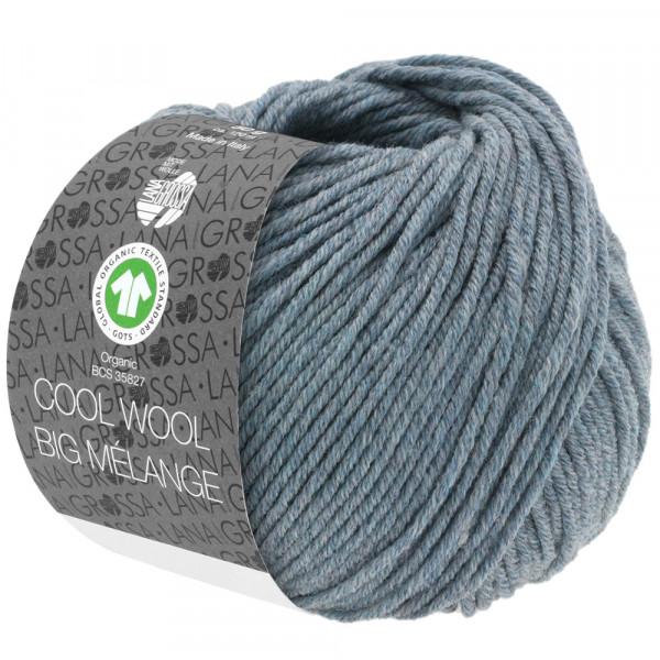 Lana Grossa Cool Wool Big Mélange GOTS 210 Graublau Meliert 50g