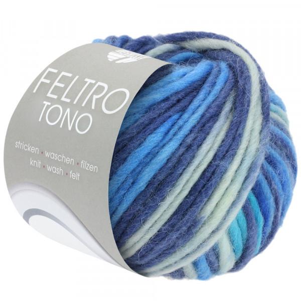 Lana Grossa Feltro Tono 1055 Hellgrau/Blau/Nachtblau/Türkis 50g