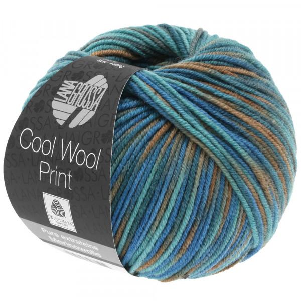 Lana Grossa Cool Wool 2000 Print 817 Taubenblau/Petrolgrün/Graubraun 50g