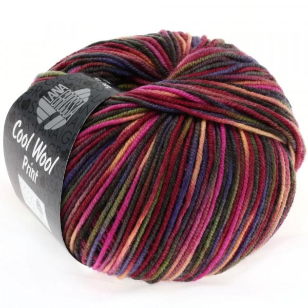 Lana Grossa Cool Wool 2000 Print 749 Weinrot/Pink/Oliv/Blauviolett/Lachs/Mokka 50g