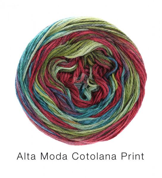 Lana Grossa Alta Moda Cotolana Print 103 Petrol/Türkis/Mint/Graubraun/Burgund/Weinrot 100 g