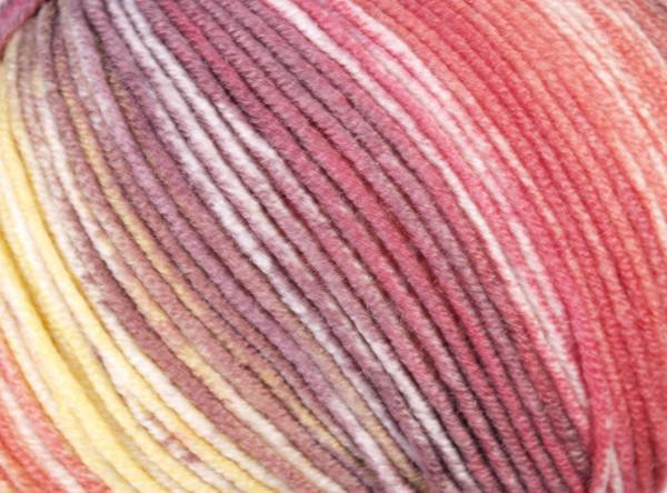 Lana Grossa Cool Wool Big Color 4017 Natur/Zartgelb/Lachsrot/Beere/Antikviolett 100g