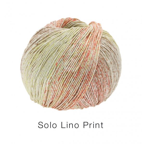 Lana Grossa Solo Lino Print 152 Graubeige/Senfgelb/Orange 100g