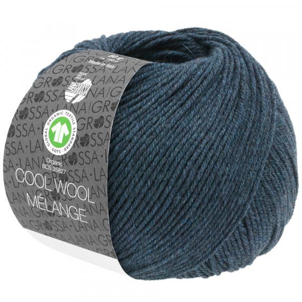 Lana Grossa Cool Wool 2000 Mélange GOTS 111 Schwarzblau Meliert 50g