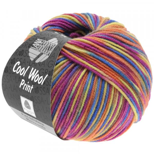 Lana Grossa Cool Wool 2000 Print - Zyklam/Lachs/Blau/Gelb/Taupe/Graugrün