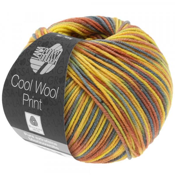 Lana Grossa Cool Wool 2000 Print 818 Zitrus-/Sonnengelb/Graugrün/Zimtbraun 50g
