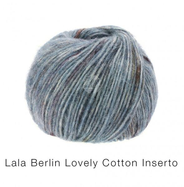 Lana Grossa Lala Berlin Lovely Cotton Inserto 104 Blaugrau/Burgund 50g