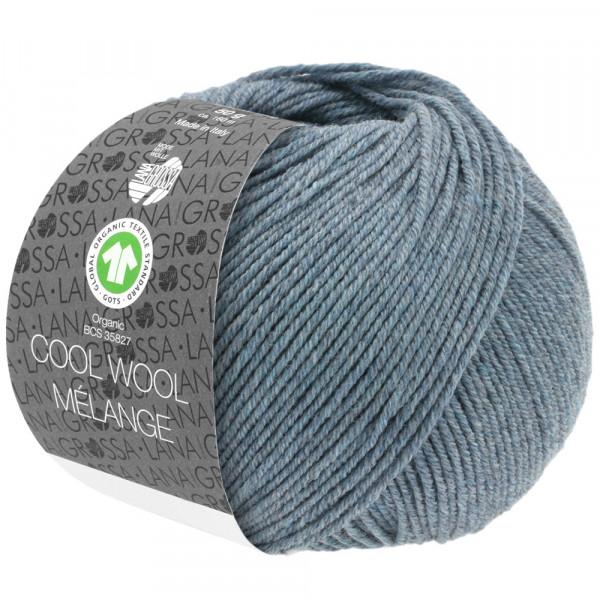 Lana Grossa Cool Wool 2000 Mélange GOTS 110 Graublau Meliert 50g