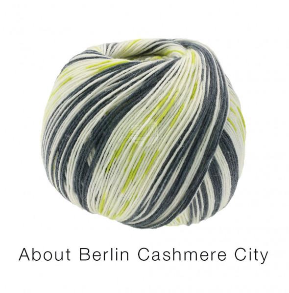 Lana Grossa About Berlin Meilenweit 100 Cashmere City 867 Wollweiß/Anthrazit/Grün 100g