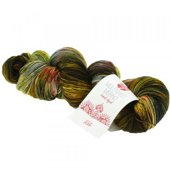 Lana Grossa Meilenweit 100 Merino hand-dyed 304 Senfgelb/Oliv/Jade/Rost/Hell-/Dunkelgrau/Schlamm 100