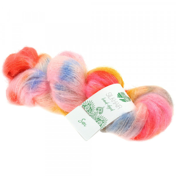 Lana Grossa Silkhair hand-dyed 603 Orange/Pink/Gelb/Rosa/Himmelblau/Puderrosa 50g
