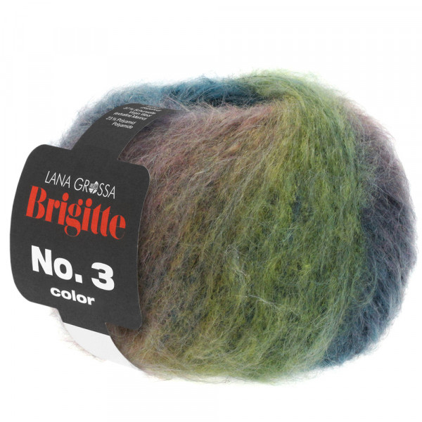 Lana Grossa Brigitte No.3 Color 103 Graugrün/Graubraun/Pastelllila 50g