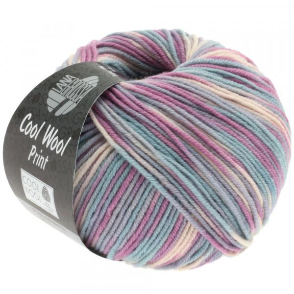 Lana Grossa Cool Wool 2000 Print - Silbergrau/Mint/Flieder/Blassrosa