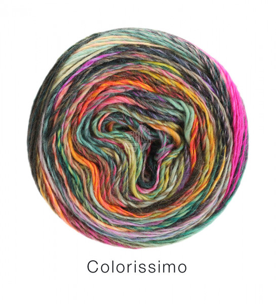 Lana Grossa Colorissimo 010 Senf/Petrol/Lachs/Pink/Orchidee/Mint/Dunkel-grün
