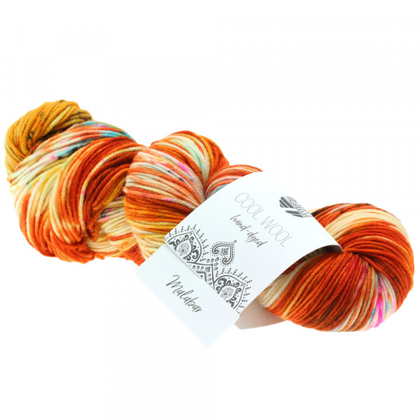 Lana Grossa Cool Wool hand-dyed 101 Rost/Orange/Rohweiß/Gelb/Pink/Grün 100g