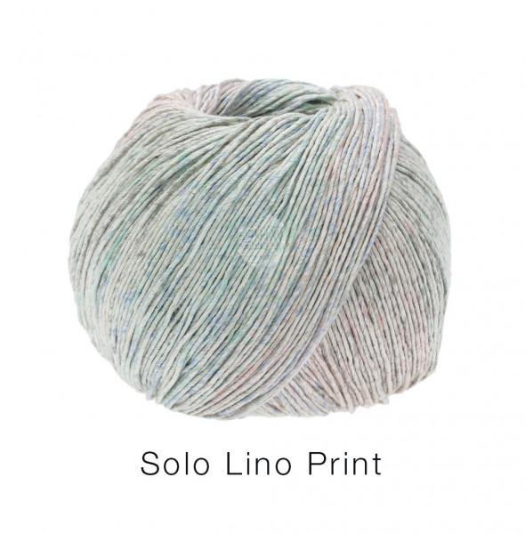Lana Grossa Solo Lino Print 155 Graubeige/Pastellgrün/Pastellblau/Hellgrau 100g