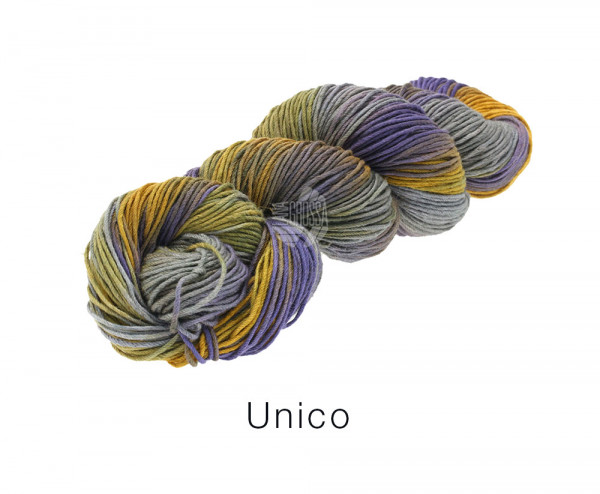 Lana Grossa Unico 007 Veilchenblau/Grau/Ocker/Oliv 100g