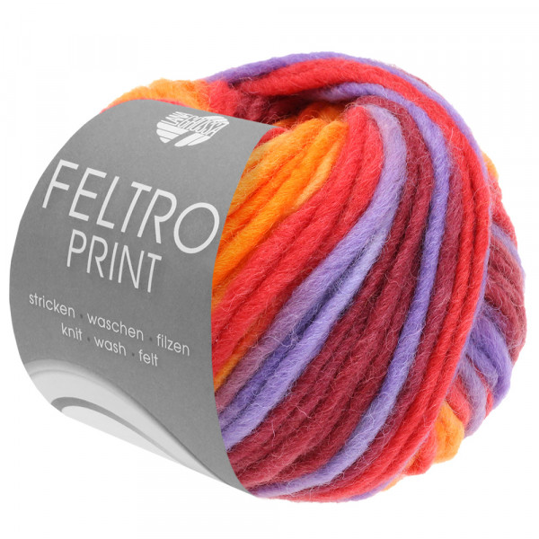 Lana Grossa Feltro Print 388 Lachs/Himbeer/Lila/Orange/Bordeaux 50g