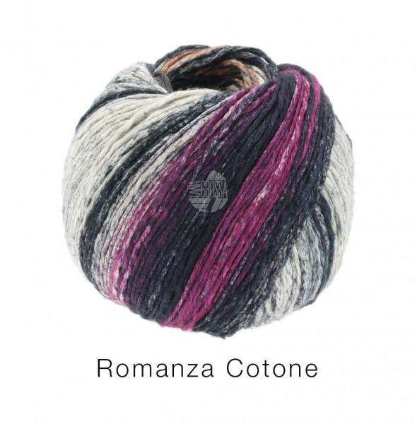 Lana Grossa Romanza Cotone 005 Aubergine/Orange/Natur/Schwarz/Rotviolett 50g