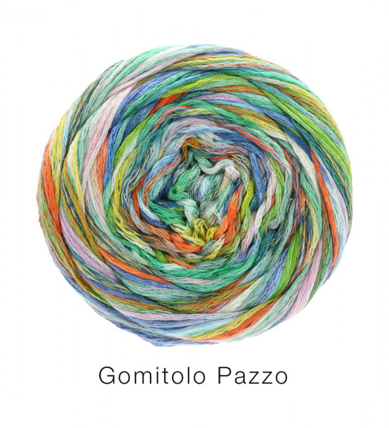 Lana Grossa Gomitolo Pazzo 813 Blau/Grün/Orange bunt 100g
