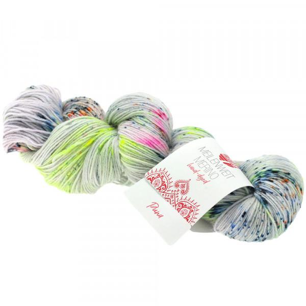 Lana Grossa Meilenweit 100 Merino hand-dyed 302 Hellgrau/Gelbgrün/Pink/Dunkelpetrol/Schwarzgrün 100g