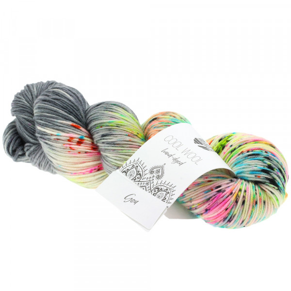Lana Grossa Cool Wool hand-dyed 105 Mittel-/Dunkelgrau/Rosa/Pink/Türkis/Orange 100g