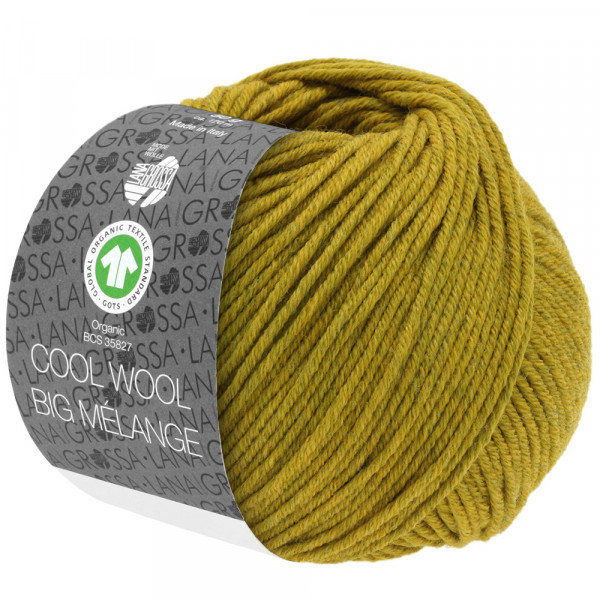Lana Grossa Cool Wool Big Melange GOTS 208 Dunkeloliv/Olivgelb Meliert 50g