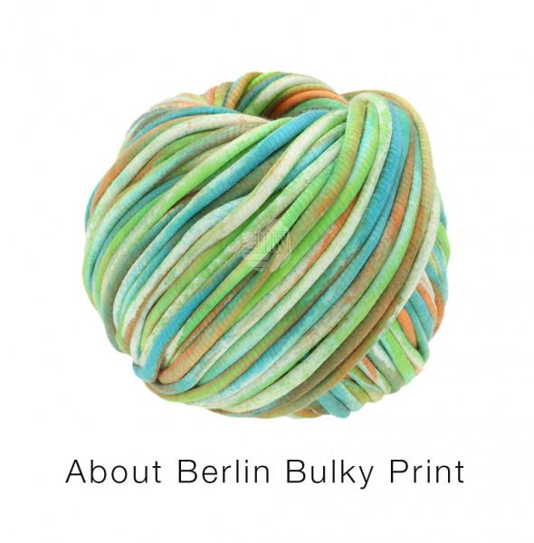Lana Grossa About Berlin Bulky Print 153 Weiß/Pistazie/Orange/Jade/Hellpetrol 50g