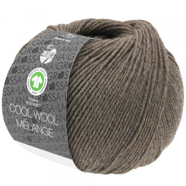 Lana Grossa Cool Wool 2000 Mélange GOTS 124 Graubraun Meliert 50g