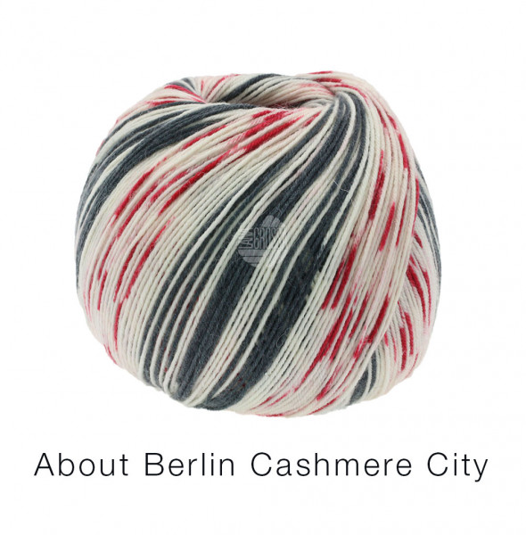 Lana Grossa About Berlin Meilenweit 100 Cashmere City 863 Weiß/Rot/Anthrazit 100g