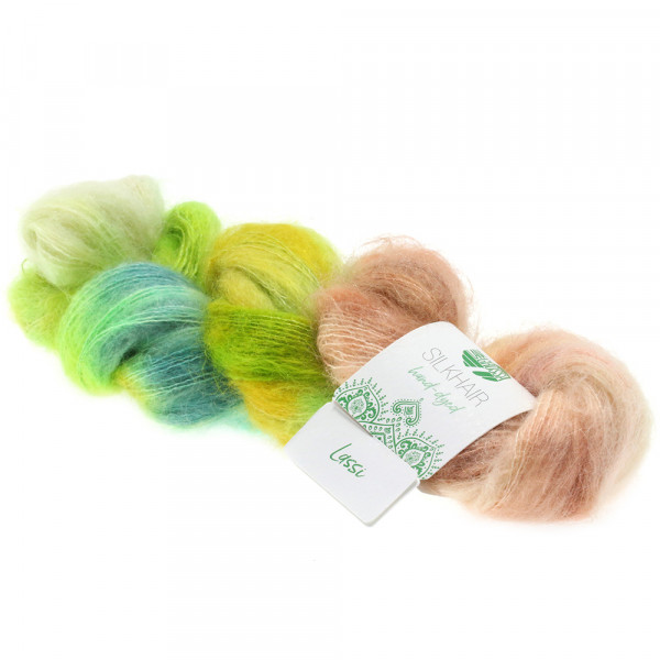 Lana Grossa Silkhair hand-dyed 606 Limette/Weißgrün/Oliv/Jade/Türkis/Vanille/Gelb/Petrol/Rosa/Terrac