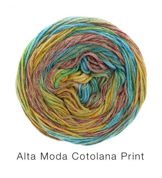 Lana Grossa Alta Moda Cotolana Print 101 Türkis/Mint/Curry/Braun/Camel 100 g